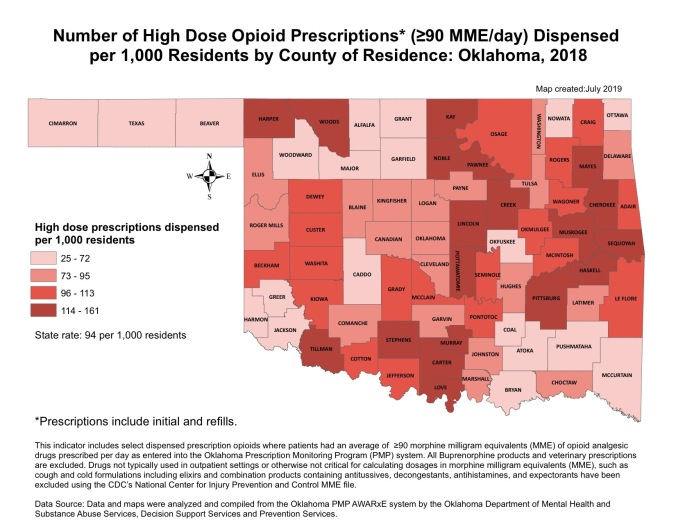 Opioid prescriptions by county in 2018